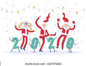 New Years corporate party 2020. Happy drunk people and funny figures dancing and fooling around at celebration. Vector flat concept.