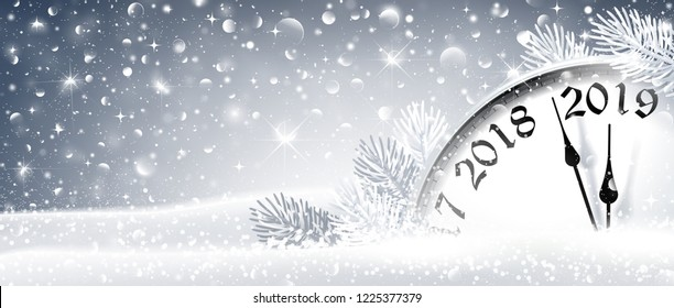 New Year's Eve 2019 Winter Celebration With Dial Clock On Snow. Vector Illustration