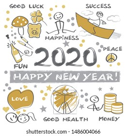 New Year's Eve 2020 - Happy New Year 2020 Vector Illustration