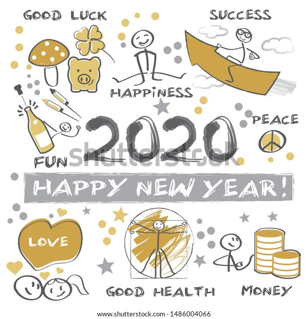 New Years Eve 2020 Happy New Stock Vector Royalty Free 1486004066