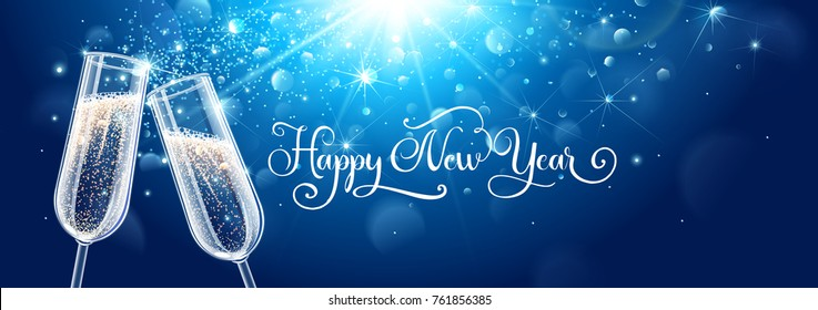 New years eve celebration background with champagne. Vector illustration