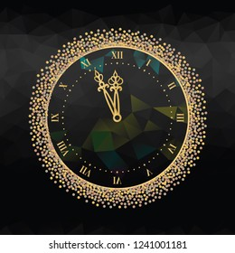 New Year's Eve clock with Roman dial on black background.