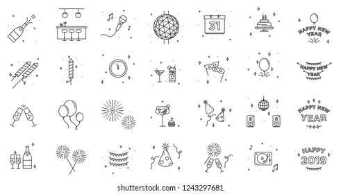 New Years Eve icon set