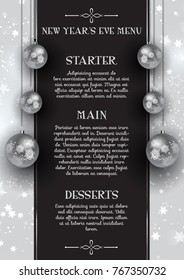 New Year's Eve menu design with hanging silver baubles