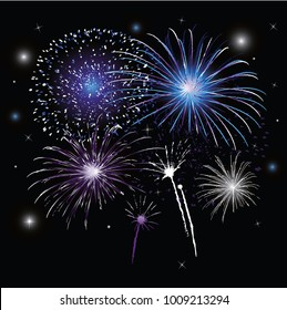 New Years Eve Party decoration with colorful firework and stars.
