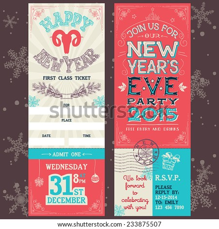 new years eve party invitation hand lettering ticket pass design template
