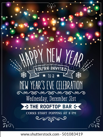 New Years Eve Party Invitation Over Stock Vector Royalty Free