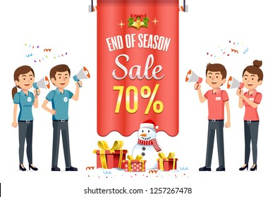 New Year's Eve Sale and Christmas Festival discount shopping at mall. Promotion for people to buy more. Business competition of the store.
