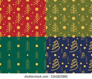 New Year's festive pattern for packaging with the image of Christmas trees, different colors