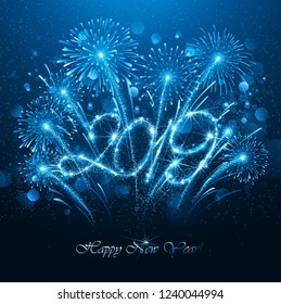 New Year's Fireworks 2019 Bright Background with Flickering Lights Effect. Vector illustration