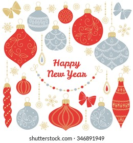 New Year's greeting card with balls, baubles, bows, garlands, snowflakes on white background. Perfect for winter invitations, Christmas greeting cards, decorations