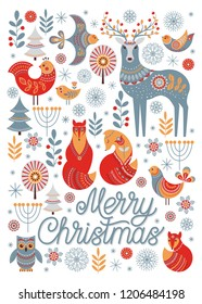 New year's greeting card. Christmas ornament in Scandinavian style. Fox, deer, owl, bird, winter forest. Vector illustration.
