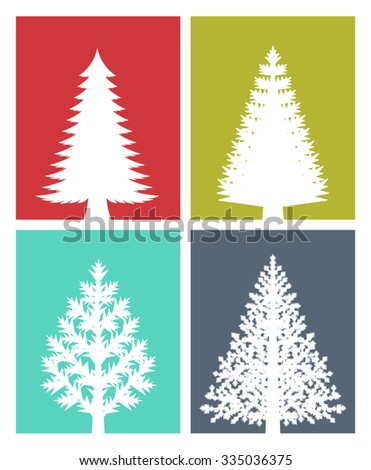 New years greeting card flat design stock vector royalty free new years greeting card flat design illustration of various types of christmas trees on colored m4hsunfo