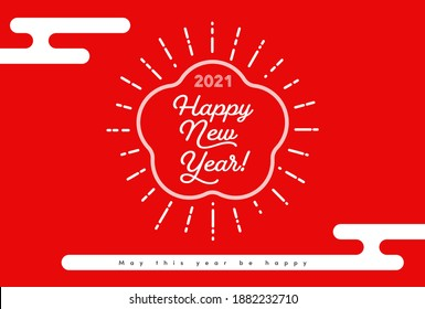 New Year's greeting Illustration. text, Happy new year, and 2021 with Traditional Pattern of haze shaped, Egasumi on a red background. Trendy sunburst flat design.