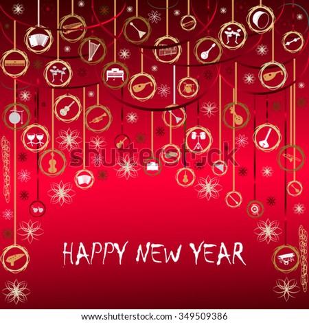 new years greetings with musical instruments