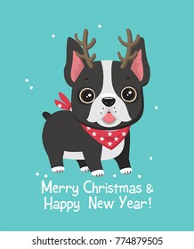 New Year's icon of a dog of breed French bulldog. A dog with a reindeer horn.