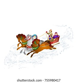 New Year's illustration, Young man in a sleigh carries a Snow Maiden, on three horses, on loose snow, cartoon on a white background, vector