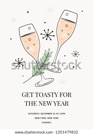 New Years Invitation Template Vector Holiday Stock Vector Royalty