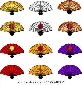 New Year's Japanese Folding Fan set