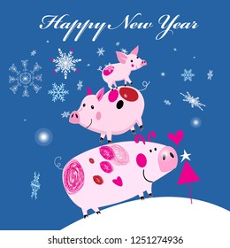 New Year's merry greeting card with three piglets on the background with snowflakes. Design for an example.
