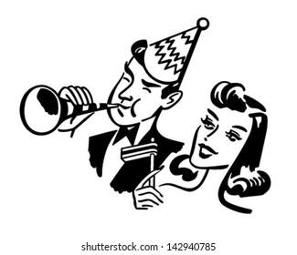 New Year's Party Couple - Retro Clip Art Illustration