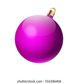 New Year's pink sphere. Christmas ball. design element. isolated white background. vector illustration