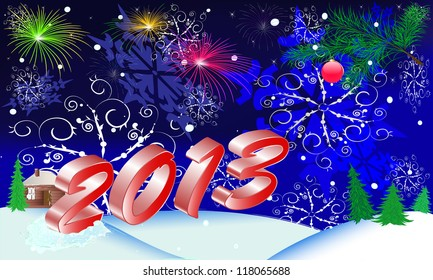 new year's postcard on 2013 for congratulation