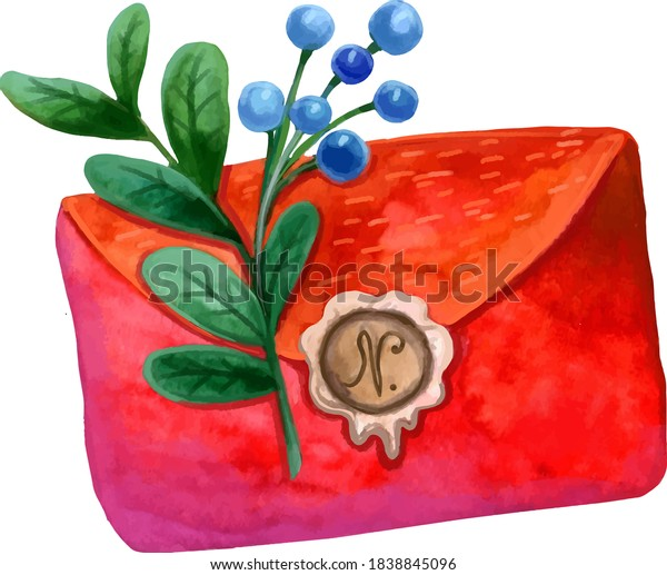 new year's red envelope with a seal and blue berries and green twigs