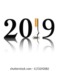 New Year's resolution Quit Smoking concept with the 1 in 2019 being replaced by a stubbed out cigarette. EPS10 vector format.