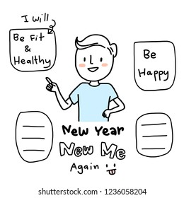 """A New Year's resolution. Young man pointing to his """"New Year, New Me"""" plan and wish lists such as being fit and healthy, being happy. Blank word bubble for writing down more included. Funny style."""