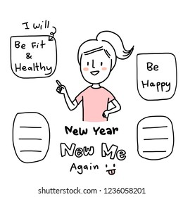"""A New Year's resolution. Young woman pointing to her """"New Year, New Me"""" plan and wish lists such as being fit and healthy, being happy. Blank word bubble for writing down more included. Funny style."""