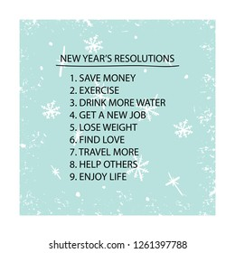 New year's resolutions list, goal setting concept / Vector illustration design