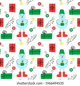 New Year's seamless pattern. Items: snowman, gifts, garlands and Christmas tree toys. Gift paper, gift packaging