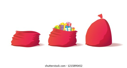 New Year's set of three bags. Empty, with gifts, full. Christmas red Santa Claus bag isolated on a white background. Vector eps10.