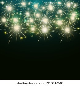 New Year's turquoise fireworks on a dark background, brilliant flashes of light, bright background for postcards, blank for design