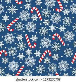 New Year`s vector seamless background with snowflakes and candies. Vector illustration Festive Christmas and New Year seamless snowflakes pattern. Blue and white.