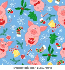 New Year`s vector seamless pattern with pigs.Vector seamless  pattern  of Happy New Year and Christmas Day. Seamless pattern of doodle, for wrapping paper, cloth, background