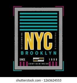 new yok city brooklyn grap...odern printed - Vector
