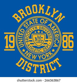 New York athletic typography, t-shirt graphics, vectors