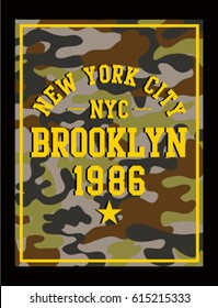 New york authentic camouflage apparels typography, t-shirt graphics, vectors