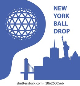 New York Ball Drop concept. Trendy vector illustration, flat style. Happy New Year concept for a web banner. Business icon