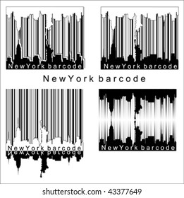 New York bar code Isolated over background and groups, vector illustration