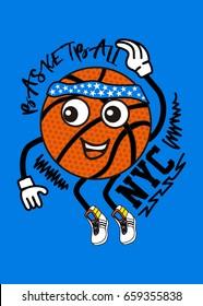 new york basketball character,t-shirt print poster vector illustration