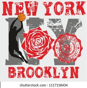 new york basketball rose club graphic design vector art