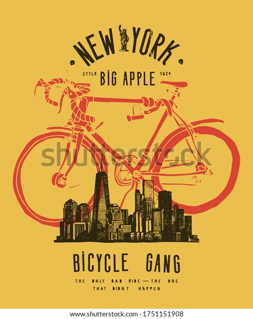 New York bicycle gang. Cityscape street style typography t-shirt print.