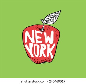 New York Big Apple in doodle style