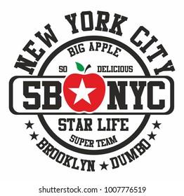 New york big apple graphic design vector art
