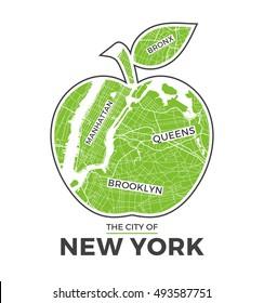 New York big apple t-shirt graphic design with city map. Tee shirt print, typography, label, badge, emblem. Vector illustration.