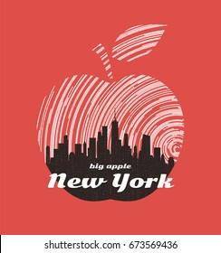 New York big apple t-shirt graphic design with city skyline. Tee shirt print, typography, label, badge, emblem. Vector illustration.