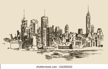 New York, big city architecture, vintage engraved illustration, hand drawn, sketch